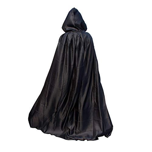 Costume d'Halloween Pélerine unisexe, Lomire Cape noir de vampire ou sorcière avec capuche, Capuchon médiéval de Païen ou pasteur pour les adultes -- parfait pour cospaly, halloween party, festival, carnaval