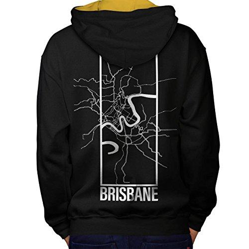 Brisbane Stadt Karte Mode Groß Stadt Karte Men M Kontrast Kapuzenpullover Zurück | Wellcoda