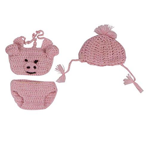 Sharplace Niedliche Puppen Gestrickte Bauchband, Hut, Unterhose Bekleidung Für 10-11 Zoll Nebborn Baby Puppe - Rosa