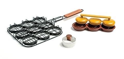 Charcoal Companion Deluxe Mini-Burger Set with Basket/Triple Press and Bun