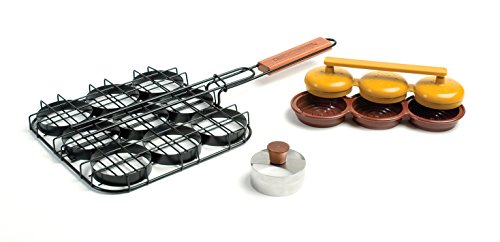 Charcoal Companion Deluxe Mini-Burger Set with Basket/Triple Press and Bun Cutter
