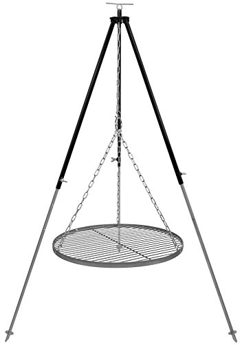 Schwenkgrill Dreibein 1,8 m Kettenhöhenverstellung mit Grillrost Edelstahl 50 cm