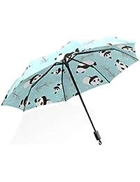 ISAOA Paraguas de Viaje automático Compacto Plegable Paraguas Panda Oso Vector Resistente al Viento Ultra luz