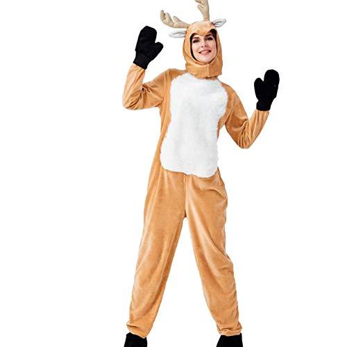 Suncaya Vintage Kinder Halloween Tier Cosplay Unisex Rentier Kostüm Elch Weihnachten Eltern-Kind-Kostüm Khaki
