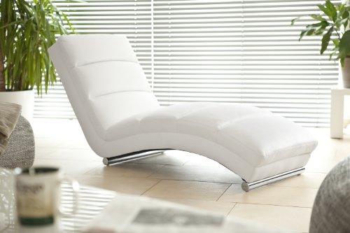 SalesFever Designer-Liege Chaise-Longue aus Kunstleder Weiß mit verchromten Gestell | Renta | Relax-Liege Zum Entspannen aus Hochwertigem Kunstleder Weiss | Moderner Liege-Sessel für Ihr Wohnzimmer