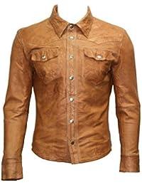 1bfe561b92e6a Homme Marron Toile Jeans Trucker en Cuir Chemise véritable Motard Veste