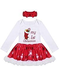 iiniim Conjunto de Navidad para Bebé Niña Recién Nacido Mi Primera Navidad Vestido + Diadema Estilo de Pelele…