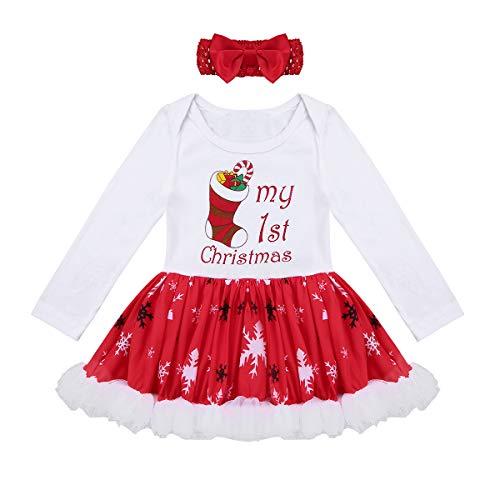 825193d9db987 IEFIEL Ensemble Vêtement Bébé Fille Noël Déguisement Lettre De Noël Tutu  Barboteuse + Bandeau Rouge Tenues