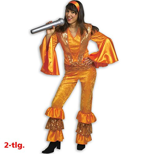 KarnevalsTeufel Damenkostüm Anita 70er Jahre Outfit 2-TLG. Kostüm Oberteil mit Hose Orange Hippie-Outfit Sängerin in verschiedenen Größen erhältlich (70er Dancing Queen Kostüm)