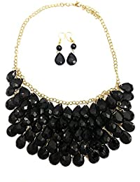 Twella Creations Stunning Black Stones And Metal Necklace For Women
