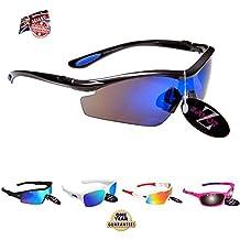 Rayzor Professionelle Leichte UV400 Gun Metal Grau Sports Wrap Radfahren Sonnenbrille, mit einem blauen Smoked Blend Lens.