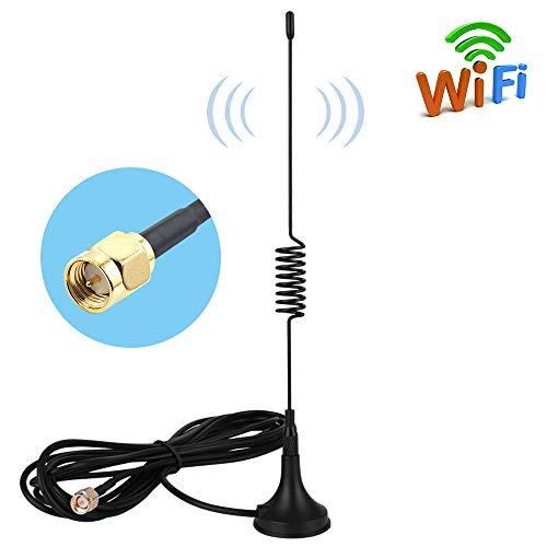 4G LTE Antenne SMA Stecker 10dBi Omni Directionale Signalverstärker Antenne mit Magnet Standfuß und 3m RG174 Kabel für 4G LTE WiFi Router Mobiles Handy-Booster Hotspot 2G 3G 4G GSM WLAN Bluetooth Radom-kabel