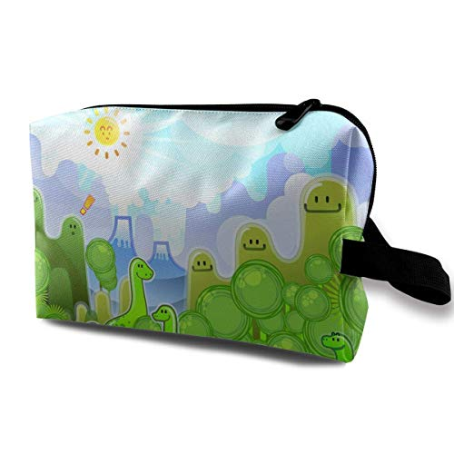 Travel Makeup Cosmetic Bag Brush Pouch Green Forest And Dinosaur Zipper Pen Organizer Carry Case cute makeup bags -