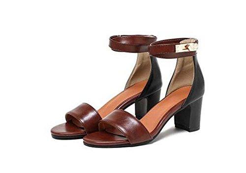 Pompe Sandali grosso tacco medio eleganti punta rotonda donne comode casuali di lavoro Simple Shoes Europa formato standard 33 34 35 36 37 38 39 40 41 42 43 Brown