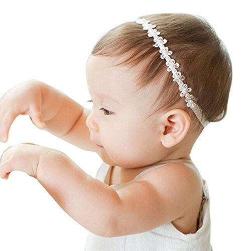 Huhu833 Baby Mädchen Prinzessin Lace Blumen Diamond Pearl Stirnbänder Elastische Haarbänder