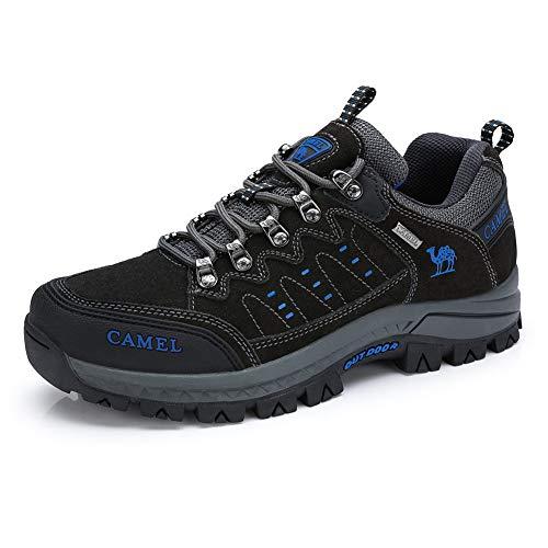 CAMEL CROWN Wanderschuhe Herren Damen, Low Top Trekkingschuhe Anti-Rutsch Walkingschuhe Sneaker für Outdoor Klettern Angeln Tagestouren,Schwarz Dunkelgrau 41 EU