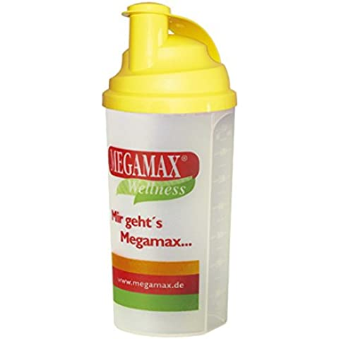 Megamax - Vaso mezclador con colador - Agitador ideal para proteínas, suplementos para ganar peso, bebidas dietéticas, suero de leche -