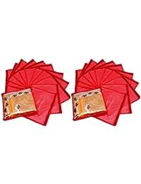 Fashion Bizz Red Non Woven Saree Bags Set Of 24 Pcs