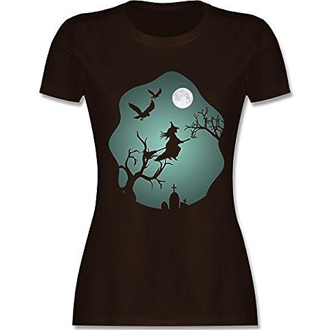 Halloween - Hexe Mond Grusel Grün - XL - Braun - L191 - tailliertes Premium T-Shirt mit Rundhalsausschnitt für (Gut Gegen Böse Kostüme)