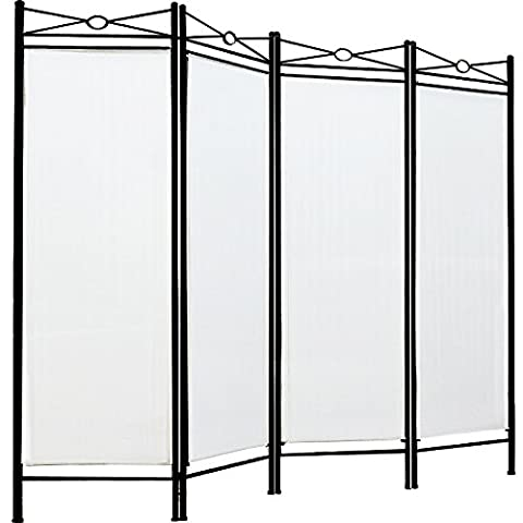 Room divider screen folding paravent 4 panel partition wall panel privacy furniture - White/Cream