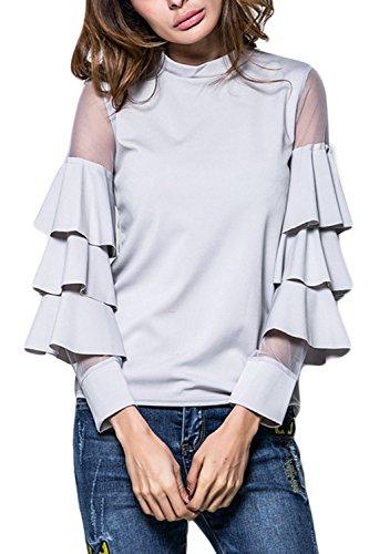 Frauen Elegant Lange Ärmel Mesh Schiere Patchwork - 3 Schichten T Hemdblusen Tops Grey