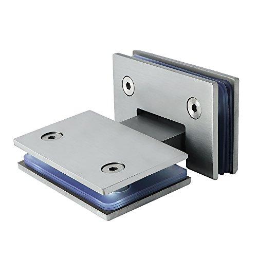 Sayayo 180 degrés Porte en verre Placard Showcase Cabinet Clamp Charnière de porte de douche en verre, Acier inoxydable brossé Fini, EBL6600