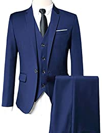 ROBO Costume Homme Un Bouton Slim Fit Mode Trois Pièces Elégant Mariage  Business a6760a623ad