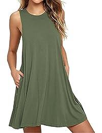 Amazon.es  Vestido Color Caqui - Vestidos   Mujer  Ropa 00ff6af6e8ce