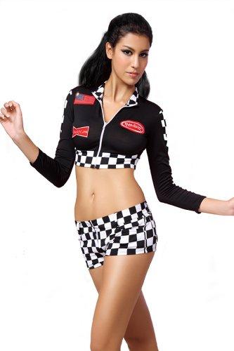 r-dessous Hose mit Jäckchen im Racing-Look Groesse: S/M (Sexy Rennfahrer Kostüme)