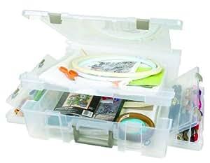 ArtBin 6984AB Super Satchel Deluxe 1-Compartment/1-Compartment Base, Translucent Clear by ArtBin