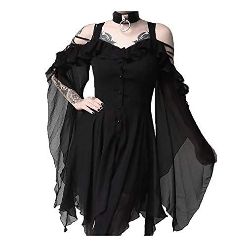 Gothic Kleid Damen Steampunk Kleid Chiffon Kleid Sommerkleid Schulterfrei Lange Ärmel Unregelmäßig Mittelalter Kleidung Viktorianisch Kostüm Magic Mistress Hexenkostüm Teufelchen Halloween Cosplay (Magic Motto Party Kostüm)