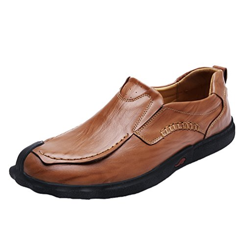 Yiiquan Uomo Leggero Traspirante PU pelle Shoes Slip on Classic Mocassini Scarpe da Barca Low Top Loafers Marrone