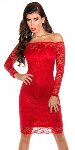 KouCla robe de cocktail bustier midi avec dentelle Rouge - Rouge