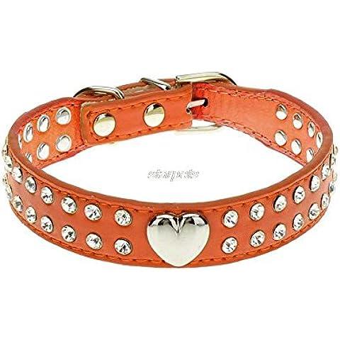Rosba (TM) 2 filas de Bling del Rhinestone del collar del perro de perrito con Niza el encanto del coraz¨®n Para 6-15