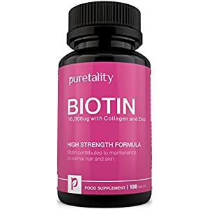 Biotin Hair Growth Supplement with Collagen, Zinc and Vitamin C, 180 Tablets- 100% MONEY BACK GUARANTEE – Puretality Unique High Strength Biotin 10,000 mcg with Added Collagen, Zinc and Vitamin C, Vitamin B7 Contributes to Healthy Hair, Nails & Skin – Double Strength of 5000 MCG competitors