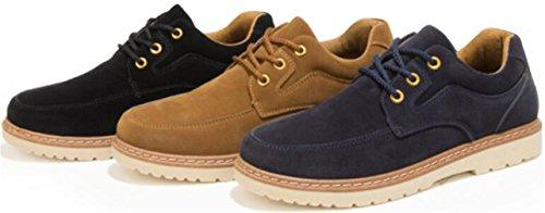 PPXID Hommes Chaussures de Travail Décontractées à Lacets en Daim Britanniques Style Noir