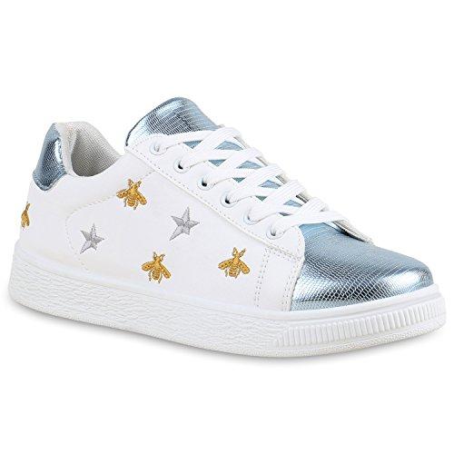 Damen Sneakers Blumen Stickereien Sportschuhe Schnürer Weiss Blau