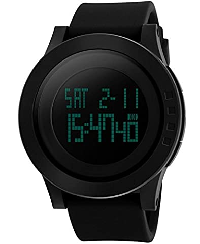 CIVO Men's Digital Military Sports Watch Big Face Business Casual 5ATM Waterproof Watches for Men Rubber Led Simple Citizen Sport Watch Black