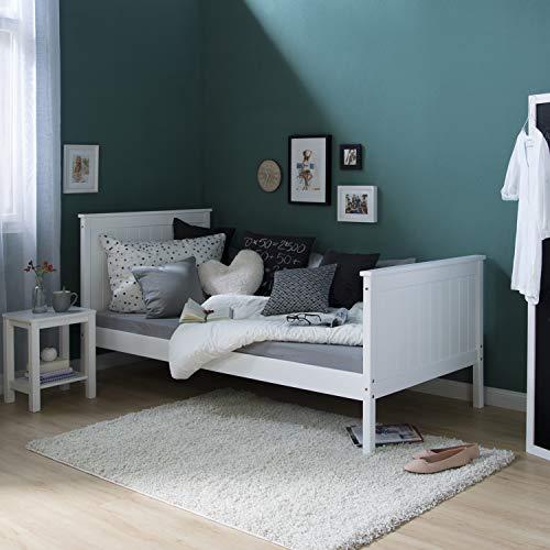 Homestyle4u 1419 Holzbett Kiefer massiv , Einzelbett aus Bettgestell mit Lattenrost , 90x200 cm , Weiß