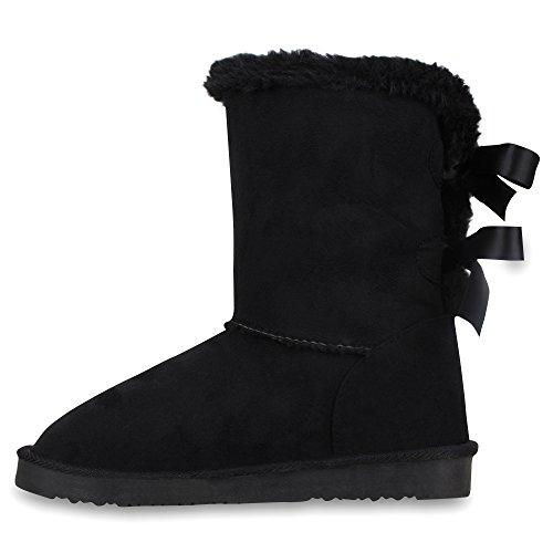 Warm Gefütterte Damen Stiefel Boots Schlupfstiefel Kunstfell Schuhe Schwarz