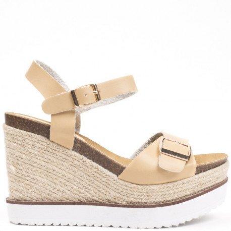 Ideal Shoes - Sandales compensées en similicuir Laiyna Beige