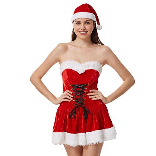 Costour Damen Weihnachsmann Kostüm Weihnachten Kleid mit Weihnachtsmütze Karneval Fasching Party (Ziel Weihnachtsmann Kostüm)