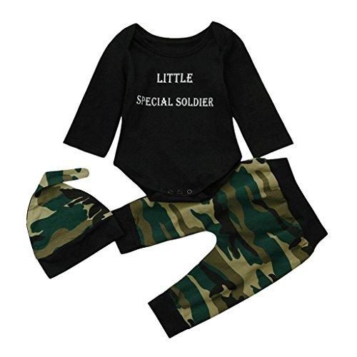 Pequeño Soldado Especial Bebe Ropa Koly Bebé Niña Niño Monos manga larga Camisetas y tops+ Camuflaje Pantalones a rayas + Casual Sombrero Gorro Traje conjunto de disfraces (Camouflage, 80)