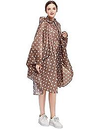 81c83243a5d3a2 G-Kids Damen Regenponcho Regenjacke Wasserdicht Punkte Regenumhang Leicht Atmungsaktiv  Regenmantel Regenparka mit Kapuze