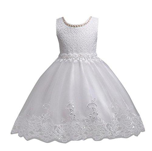 tliche Kinderkleider Longra Mädchen Lange Kleid Spitzenkleid mit Blumen Kinder Prinzessin Kostüm Tutu Kleid Brautjungfern Hochzeitskleider Partykleid (White, 140CM 8Jahre) (White Kinder-kleider)