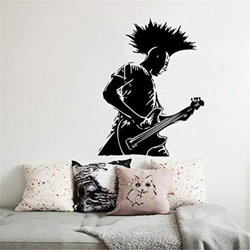 yiyitop Diseño de Arte de Moda Vinilo decoración del hogar Cantante de música Punk Etiqueta de la Pared Hermosa decoración de la habitación Popular Reproductor de Guitarra calcomanías 58x76 cm