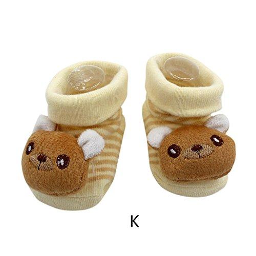 Vovotrade 15 verschiedene Karikatur Neugeborene Baby Jungen Anti Rutsch Socken Hefterzufuhr Schuh Aufladungen (K) (Baby-mädchen Neugeborenen-nike Schuhe)