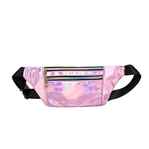 Fanny Pack für Frauen und Männer, Mode cool wasserdicht glänzend Hüfttasche mit verstellbarem Gürtel für Festival, Reisen, Wandern, Party,Pink ()