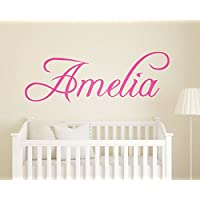 Childrens Wall Art - Personalised Girls Name Wall Sticker - Swirly Name Wall Sticker - Vinyl Wall Sticker - Vinyl Lettering