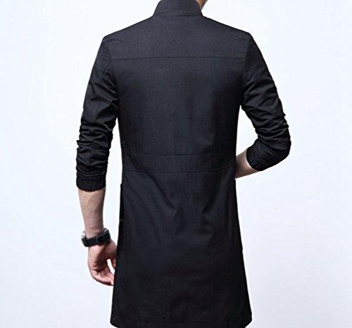 YiLianDa Uomini Casuale Taglia Larga Giacca Slim Fit Bomber Jacket Moda Cappotto Nero